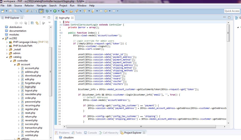 opencart login code